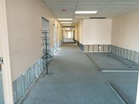 Looking down the hall that will house the future department heads