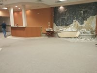 The fountain in the lobby has been taken down to make way for the windows for Assessing, Water, and Treasurer.